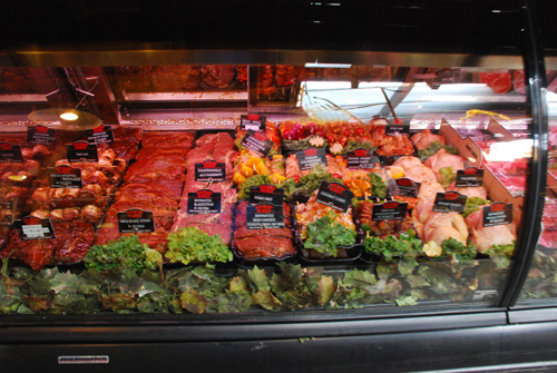 organic meat selection case lights