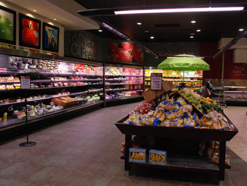produce department case & overhead lighting